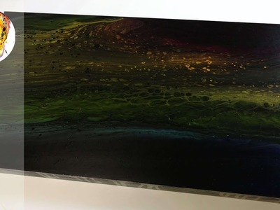 ????Acrylic Pour Tutorial Demonstration - How to Paint - Dark Rainbow