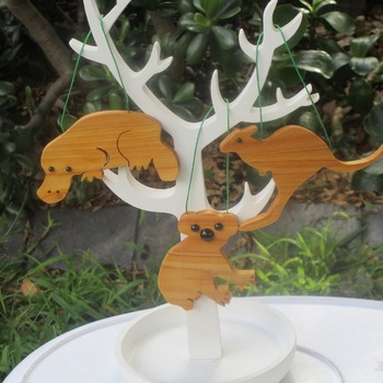 Australian set of 3 animals solid Australian timber