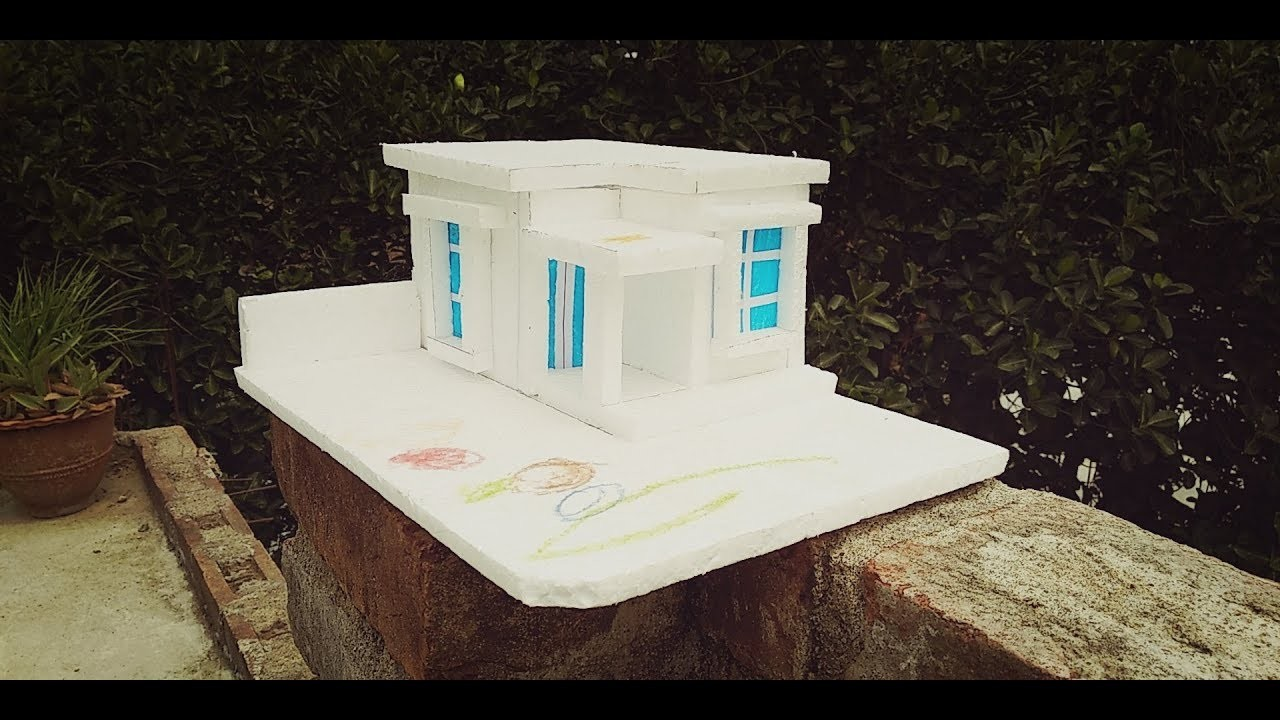 Craft - Thermocol house , How to make thermocol house for school project