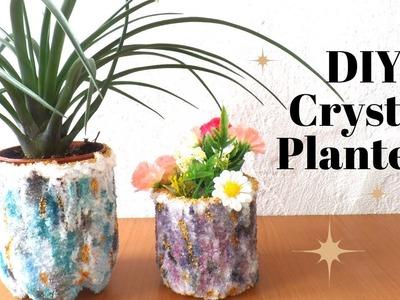 DIY Geode Crystal Planter using Salt    Planter Ideas Gemstone Crystals    by Fluffy Hedgehog