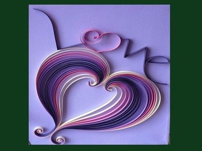 DIY || How to Make  Beautiful Paper Quilling Heart Design Greeting Card || Siri Art&Craft ||