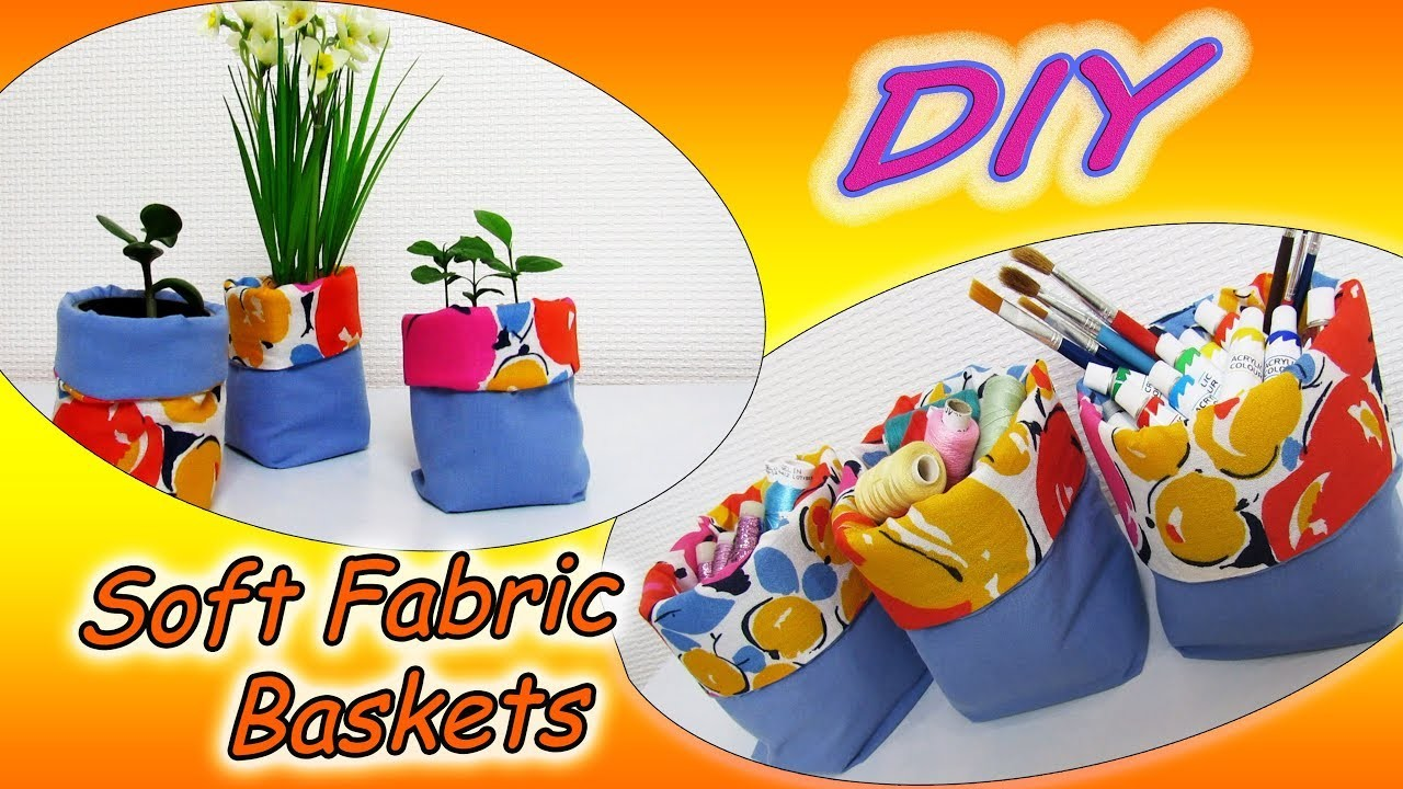 DIY How To Sew Soft Fabric Baskets, Boxes, Plant Pots Any Size - Sewing Tutorial For Beginners
