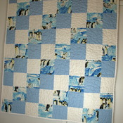 Homemade baby boy toddler crib size quilt 100 % cotton checkerboard style