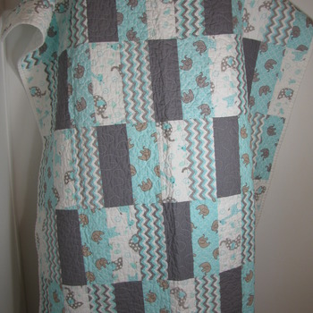 Handmade,Crib,Toddler,New,100%Cotton,Safari,Baby,Quilt,Designer,modern,Grey,Teal,White,Nursery,Baby shower,