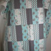 Handmade,Crib,Toddler,New,100%Cotton,Safari,Baby,Quilt,Designer,modern,Grey,Teal,White,Nursery,Baby shower,
