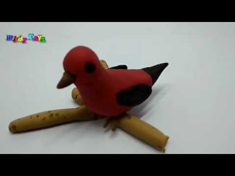 How To Make Bird Scarlet Tanager - Play Doh  I Widy Toys