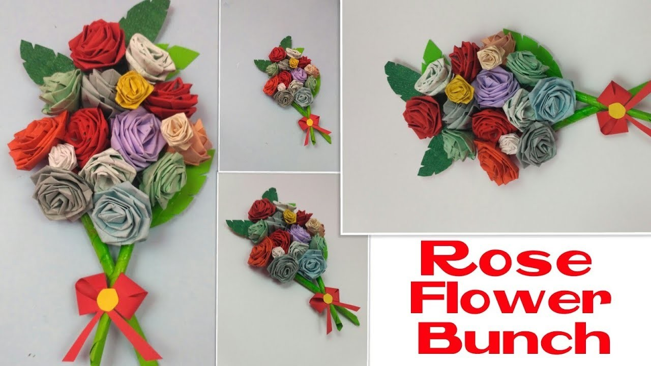 How To Make Paper Flower Bouquet Diy Rose Flower Bunch For Handmade