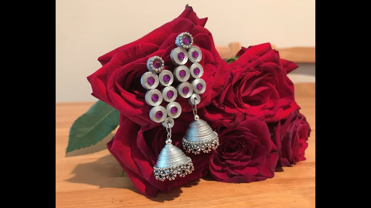 How to make Quilling Jhumkas - Silver Style