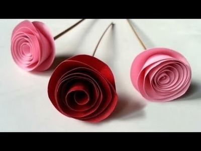 How to make rolled paper rose flower in a minute