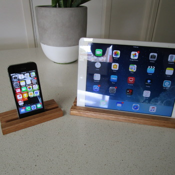 iPhone and iPad matching stands solid timber handmade