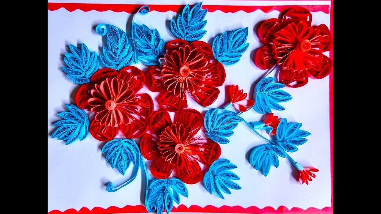 Paper Quilling Greeting Cards Flower Hand Works Handiwork