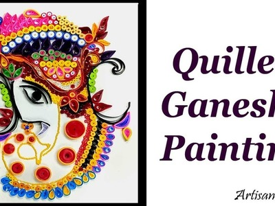 DIY Handmade paper Quilled Ganesha Painting. Ornamental Quilling.Lord Ganesha Quilling Ideas