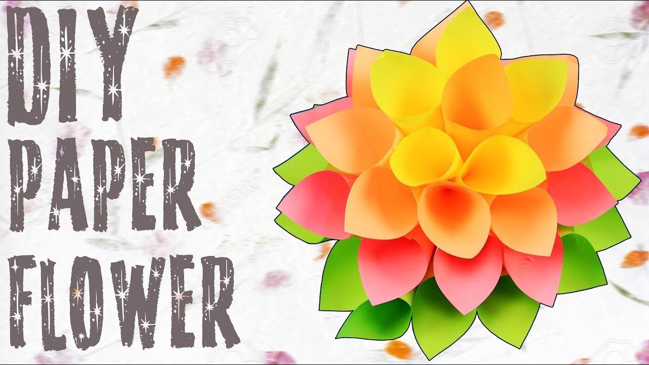 DIY Paper Dahlia Flower Tutorial   How To Make Paper Flower   Paper Craft Ideas   Crafts Hacks Video
