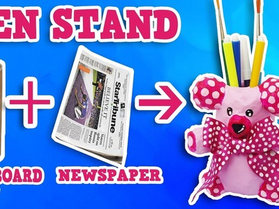 DIY Pen Stand || Teddy Bear from Newspaper || The Blue Sea Art