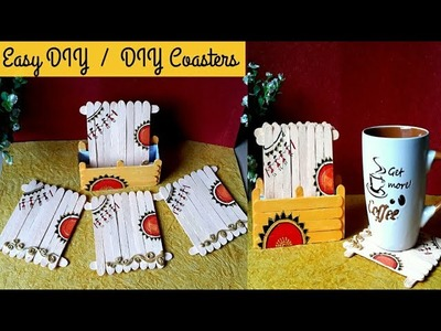 DIY Quick Coasters with warli painting  Diy popsicle coasters I #warliart IColours Creativity Space