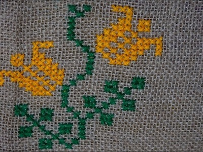 Hand Embroidery Work : Cross Stitch Embroidery on Jute Mat