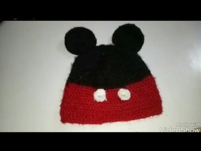 Mickey Mouse  cap for 1-3years old baby tutorial  in hindi