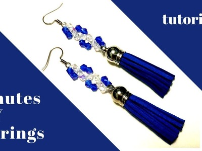10 minutes diy  earrings. Crystal earrings making. Beading tutorial for diy tassel earrings