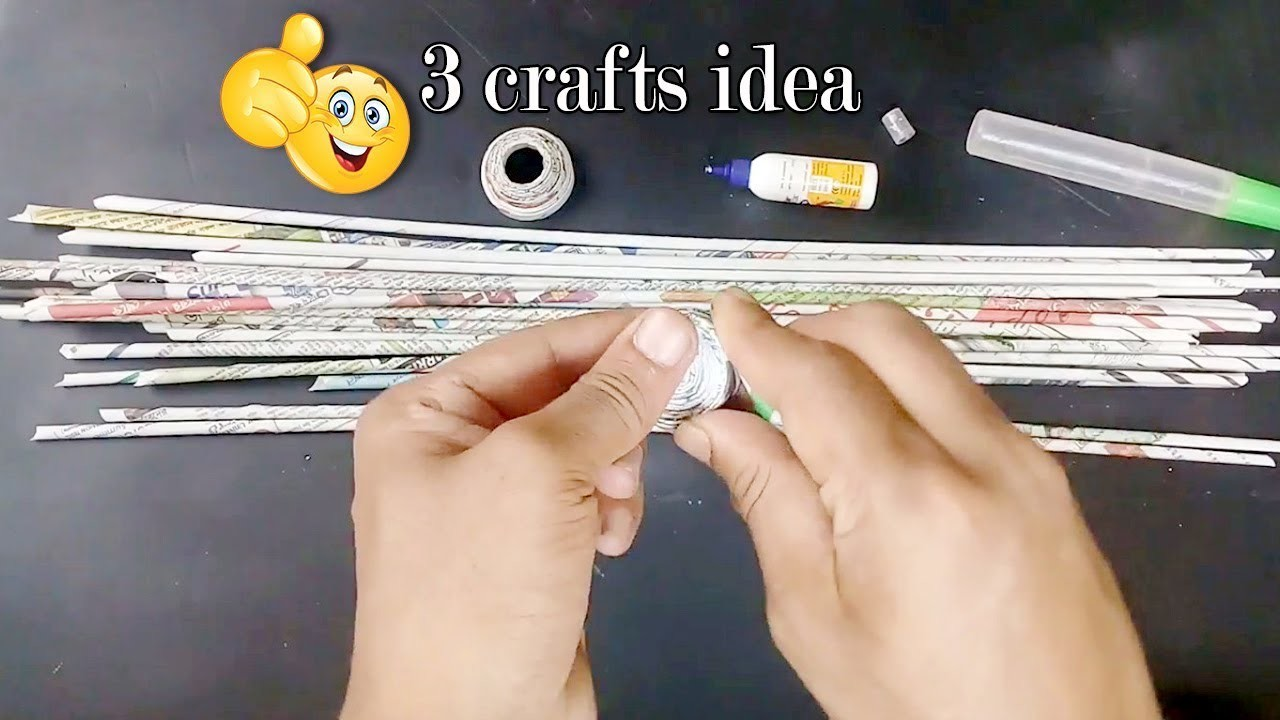 3 Crafts Idea With Waste Newspaper Best Out Of Waste Newspaper