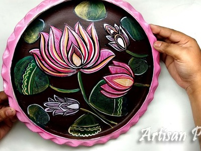Craft Idea - Handmade home decoration item on Clay Plate. Easy and Creative room Decor Art