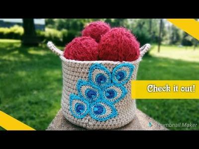 Crochet basket  patterns for beginners - crochet peacock feathers!