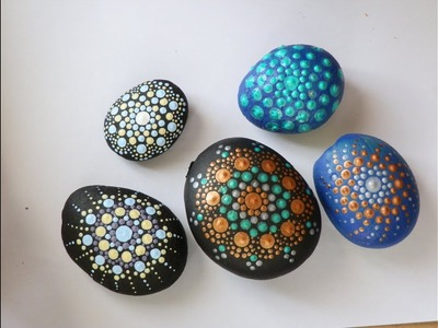 DIY-5  different little mandala stones painting