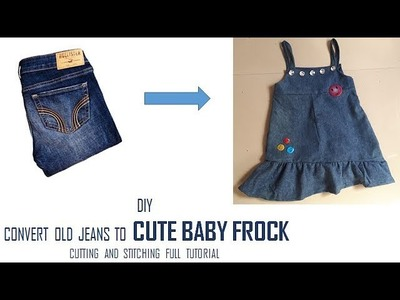 DIY Convert old Jeans to CUTE RUFFLE BABY FROCK cutting and stitching Full Tutorial