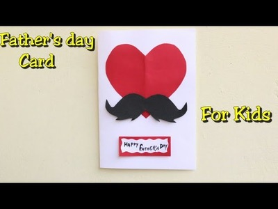 DIY Father's day card ideas.Heart with Mustache Card.Making father's day card.Greeting card ideas