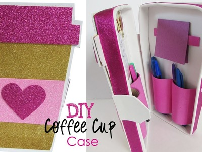 DIY Glitter Coffee Cup Case For Pens, Storage - Fun Foam Craft - Back to School
