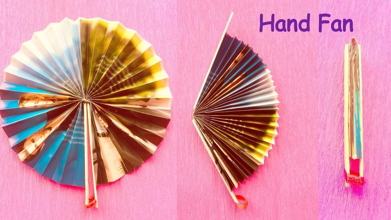 Diy Homemade Newspaper Hand Fan Best Out Of Waste Kids