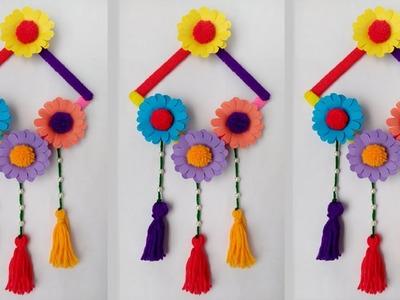 DIY: Ice Cream Stick Crafts !! DIY-Wall Hanging.Wall Hanging Ideas With Ice Cream Stick & Woolen