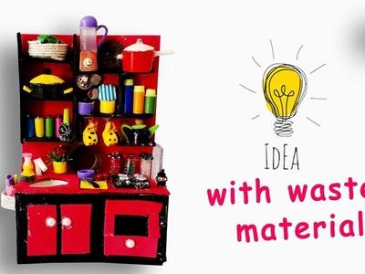Diy miniature kitchen using waste materiel   kids craft   diy craft ideas