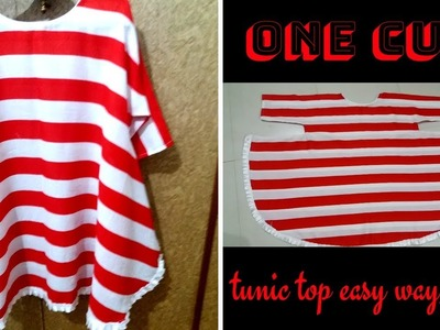 DIY-One Cut Tunic Top Cutting and stitching easy way Latest tunic top design.summer tunic top of EID