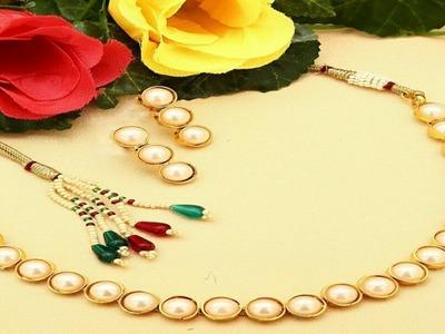 Diy Silk thread pearl necklace || kemp necklace || simple pearl maala ||