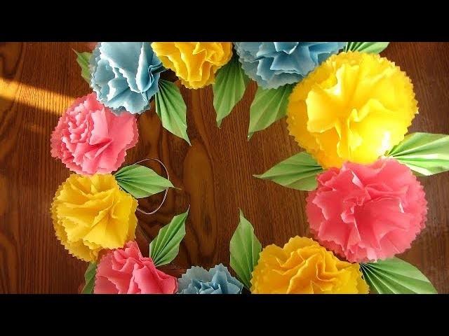DIY. Simple Home Decor. Wall Decoration Door. Hanging Flower. Paper Craft Ideas
