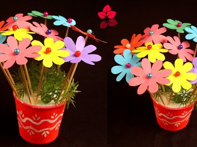 DIY Simple Paper Craft - Paper Flower and Vase Ideas - Very Easy and Simple Way