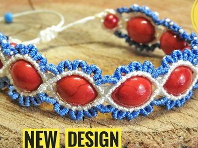 DIY Wavy Macramé Bracelet with Beads - NEW Macrame DESIGN