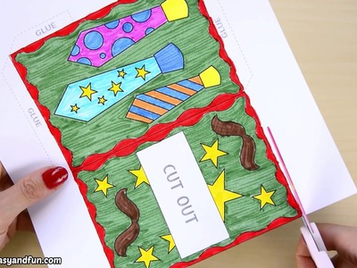 Father's Day Pull Out Card - paper craft for kids
