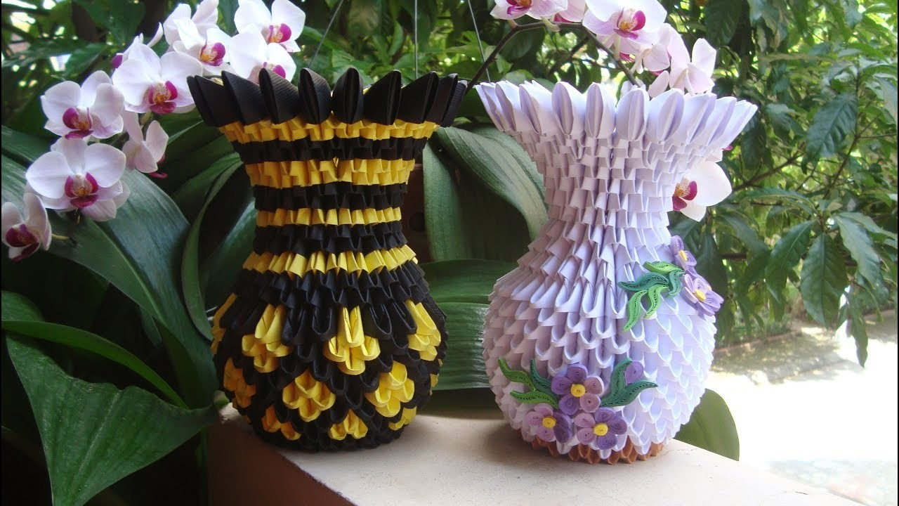 How To Make A 3d Origami Flower Vase Flowers Healthy