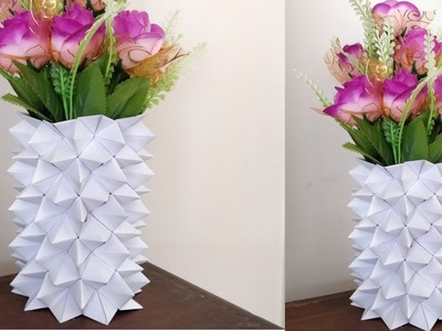 How To Make A Paper Flower Vase || Diy Simple Paper Craft
