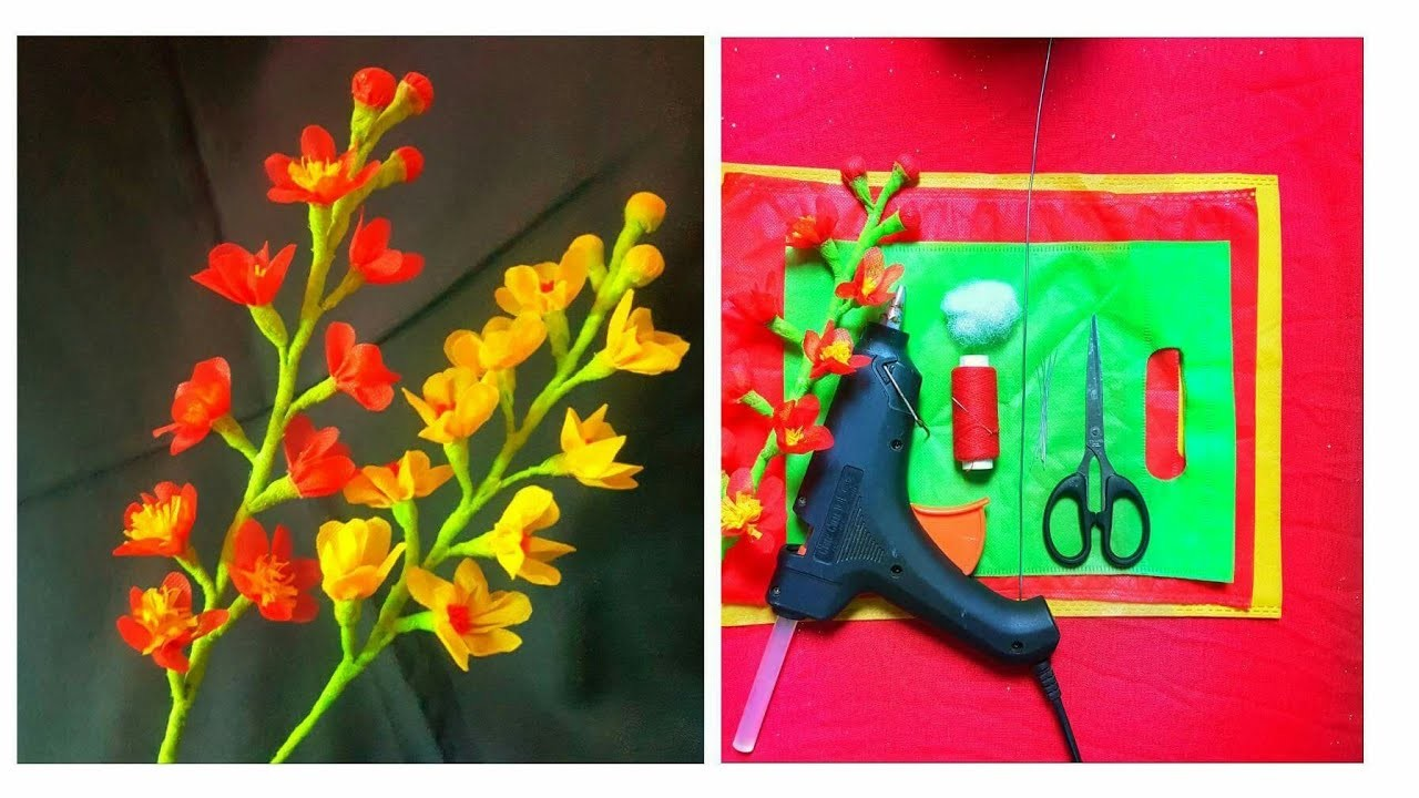 How to make beautiful flower stick ???? with waste shopping bag ???? DIY: hand craft ???? very easy. ????