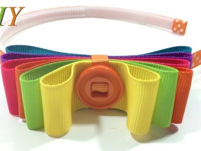 How To Make Hair Bows ???? DIY #205 Rainbow Headband Tutorial