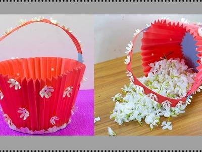 How To Make Paper Basket for Flowers || DIY Paper Basket || Christmas Gift Basket || Paper Crafts