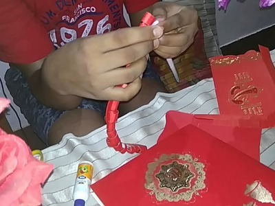 Krishna Art and craft best use of old wedding card to make a flower poet