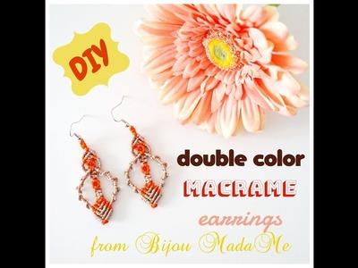 Macrame earrings tutorial. How to make easy double color macrame earrings. DIY macrame jewelry.