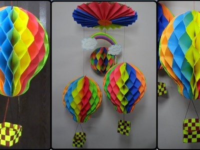 Paper Crafts: How to make Honeycomb Ball.Hot Air Balloon | DIY Home Decoration Ideas