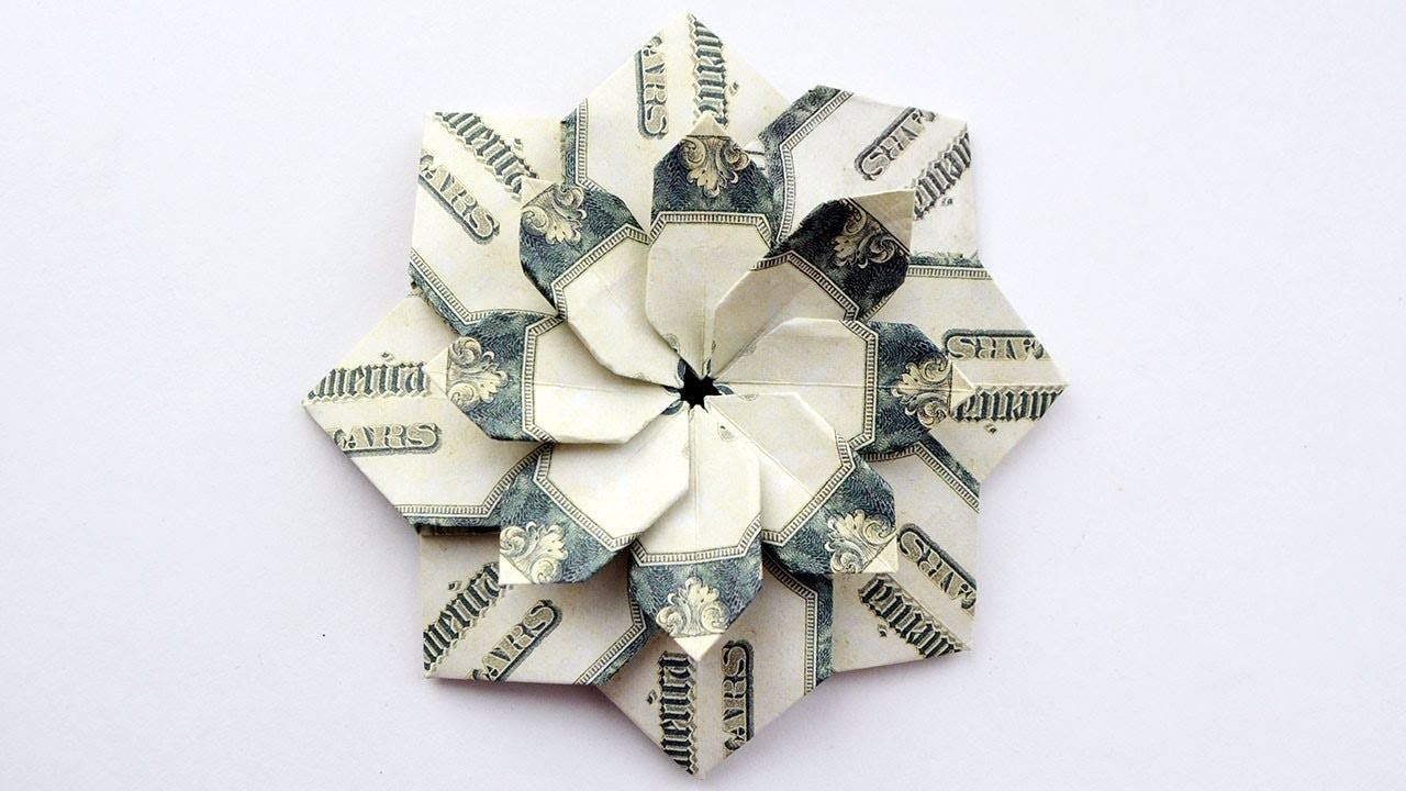 Wonderful Money Flower Mandala Modular Origami Dollar Bills Tutorial