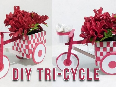 Diy decorative tricycle by using cardboard- easy step by step tutorial- DIY with sayan