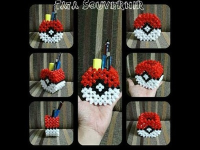 DIY How to Bead Pokeball Pencil Holder | Beading Tutorial