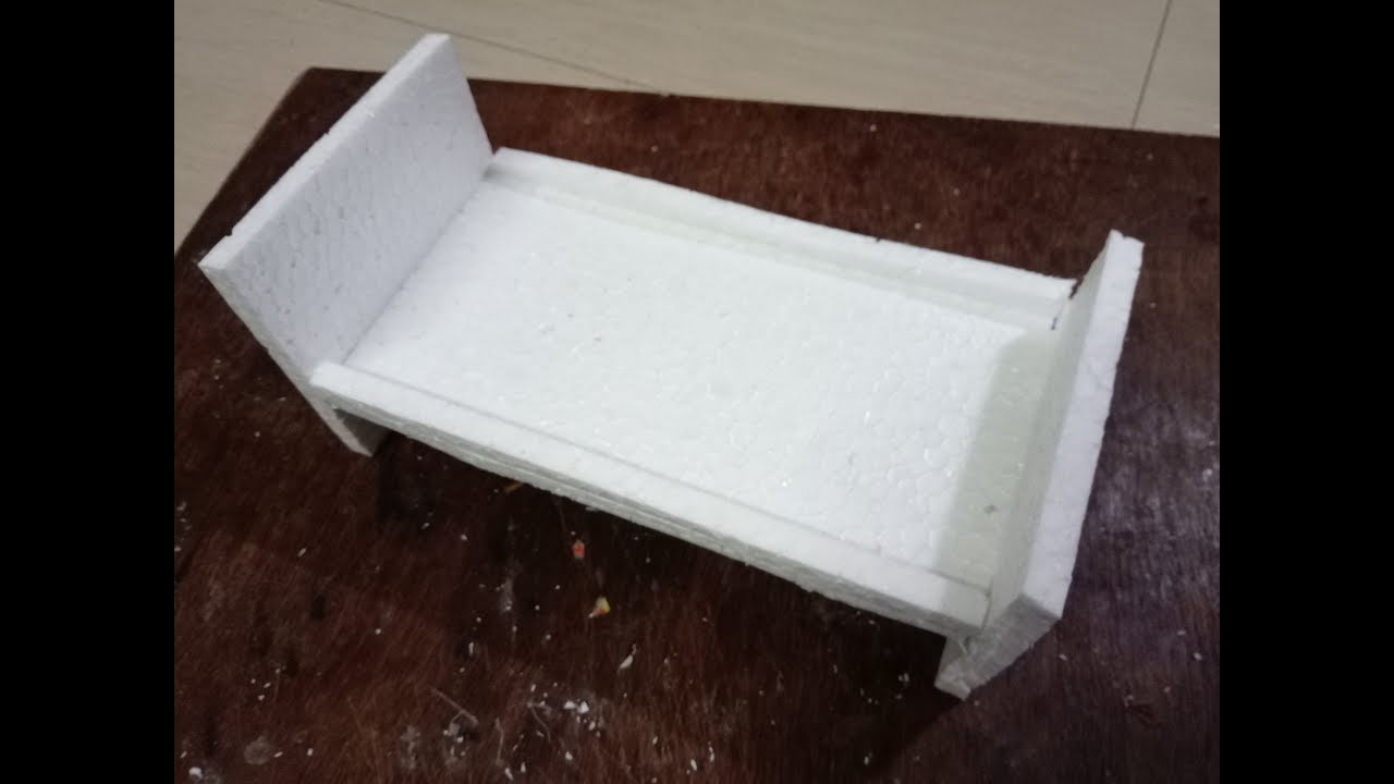 DIY: How to make doll bed with thermocol  - miniature craft